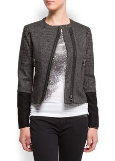 Contrasted sleeves bouclé jacket