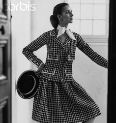 Woman in Houndstooth Chanel Suit 1950's-1960's