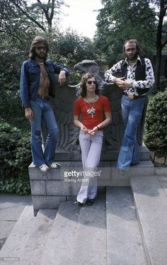 Barry Gibb, Robin Gibb, and Maurice Gibb of the disco group the Bee Gees in Central Park in New York City on March 23, 1975.