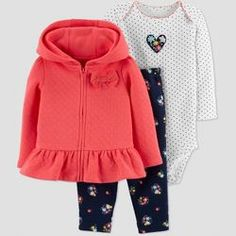 Baby Girls  3pc Poppy Floral Cardigan Set - Just One You® made by carter s 302a02d15