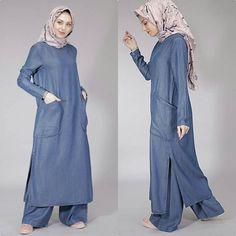 Muslim clothing denim abaya dubai kaftan loose fit jalabiya with pant Abaya Fashion, Modest Fashion, Fashion Clothes, Fashion Dresses, Girl Fashion, Casual Clothes, Muslim Women Fashion, Islamic Fashion, Denim Abaya