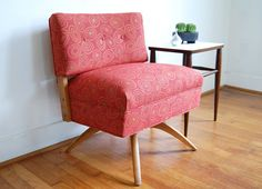 Vintage Mid Century Modern Red Swivel Chair