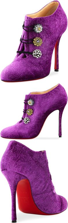 Christian Louboutin swirl embossed velvet bootie with crystal-jeweled embellishments