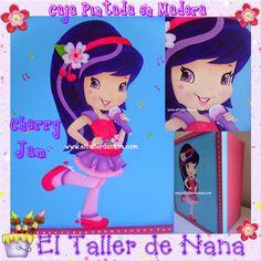 Caja en Madera, tapa pintada con diseño de Cherry jam (Personaje de Strawberry shortcake)