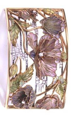 ART NOUVEAU NECKLACE PLAQUE~, Louis Aucoc, Paris, circa 1900. Gold, platinum, diamonds and plique-à-jour enamel plaque de cou. Worn attached to a silk or velvet ribbon. #Aucoc #ArtNouveau #ChokerPlaque