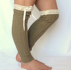 leg warmers knit sage green leg warmers with lace and by bstyle, $26.00