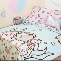 Pusheen Meowmaid Double Duvet Set Purchased in Primark - Adorable room nautical theme for girls and boys Baby Bedroom Sets, King Bedding Sets, Duvet Sets, Girls Bedroom, Bedroom Decor, King Comforter, Bedrooms, Bed Sets, Chat Pusheen