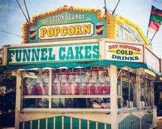 carnival print, vintage, summer, fair, fine art photo, funnel cakes, popcorn, food stand, wall art, frame option, canvas option, 8x10