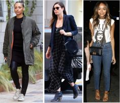 """Celebrity Street Style of the Week: Kat Graham, Jessica Biel, & Ashley Madekwe. Get Kat Graham's bomber jacket, Jessica Biel's plaid dress, and Ashley Madekwe's ELLE graphic tee in our """"look for less"""" roundup."""
