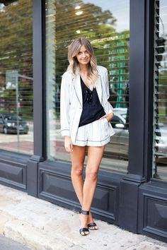 3.1 Phillip Lim jacket and shorts. Story By Tang singlet. MLM shoes.(image:vogue)