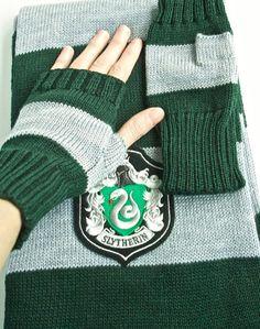 Harry Potter Hogwarts Slytherin inspired set scarf 1.5 by gpatrib