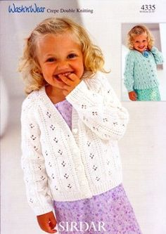 Cardigans in Sirdar Wash 'n' Wear Double Crepe DK Sirdar Knitting Patterns, Double Knitting Patterns, Knitting For Kids, Free Knitting, The Cardigans, Baby Cardigan Knitting Pattern, Baby Sweaters, Knit Crochet, Embroidered Flowers