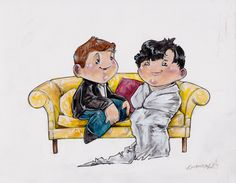 "ORIGINAL ART: ""Sherlock In A Sheet"" by Bianca Roman-Stumpff, original 8X10 painting, donated by the artist"