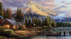 Thomas Kinkade (Sacramento, California, 19 enero 1958. Los Gatos, California, 6 abril 2012). Pintor realista en artes visuales, bucólico, e idílico.