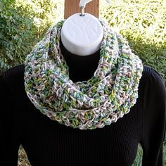 8901603ba Items similar to SUMMER SCARF Infinity Loop Cowl, Green, Taupe Brown, Lime,  Off White, Handmade Lightweight Crochet Knit Endless Circle Scarf.
