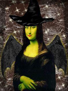 Halloween Mona Lisa - A Witch Mona Lisa Smile, Le Sourire De Mona Lisa, Mona Lisa Parody, Adornos Halloween, Famous Artwork, American Gothic, Italian Artist, Art Classroom, Alien Vs Predator