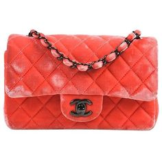 Chanel Coral Pink Velvet & Leather Quilted Crossbody 'Classic New... ($2,370) ❤ liked on Polyvore featuring bags, handbags, leather cross body purse, mini handbags, quilted leather handbags, pink leather handbags and chanel handbags