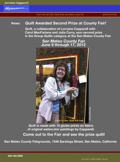 """Here I am at the County Fair with a Red Ribbon for """"Quilt""""! What a thrill."""