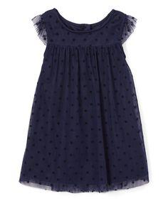 Another great find on #zulily! Navy Dot Angel-Sleeve Dress - Infant, Toddler & Girls #zulilyfinds
