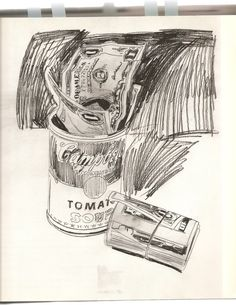 """Andy Warhol - Campbell's Soup Can and Dollar Bills, 1962 Pencil and watercolor on paper 24x18""""."""