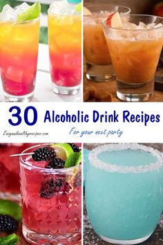 30 Alcoholic Drink Recipes For Your Next Party - Health and wellness: What comes naturally Fruity Alcohol Drinks, Alcohol Drink Recipes, Non Alcoholic Drinks, Yummy Drinks, Alcohol Mixers, Iced Tea Cocktails, Cocktail Drinks, Cocktail Recipes, Pina Colada