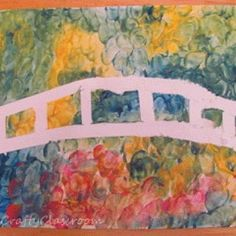 claude monet paintings for spring time! use tape to create bridge on paper, give each child a palette (paper plate) and allow them to blend using paintbrush...then they use finger to create their works of art (all while looking at monets version)