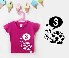 T-Shirts - Geburtstagsshirt | Marienkäfer pink - ein Designerstück von naehfein-berlin bei DaWanda #geburtstagsshirt #marienkäfer #pink #3jahre #geburtstag #geschenkidee