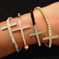 Love the black beaded Cross bracelet Jewelry Box, Jewelry Accessories, Fashion Accessories, Jewelry Making, Jewlery, Cross Jewelry, Diy Jewelry, Cross Love, Beaded Cross