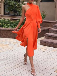 One Shoulder Lantern Sleeve Slit Formal Gown Attire from girls's favourite items of attire may very well be the principle … Elegant Dresses, Beautiful Dresses, Casual Dresses, Fashion Dresses, Evening Outfits, Evening Dresses, Prom Dresses, Modelos Fashion, Couture Wedding Gowns