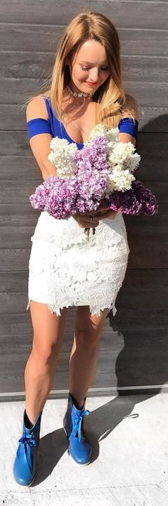 #summer #fashion Amazing Summer Look Lovely White Skirt and Blue Top and Shoes Look