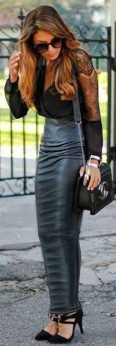 Ultra-tight leather hobble skirt