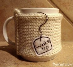 """Love these cozies.  The brown """"coffee me"""" is my favorite.  I wish I could crochet!"""