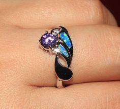 blue fire opal Amethyst Cz ring Gemstone silver jewelry Sz 9 engagement H78A