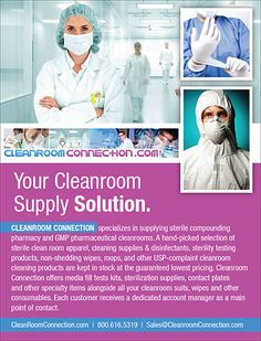 Cleanroom Connection - specializes in supplying sterile compounding pharmacy and GMP pharmaceutical cleanrooms. A hand-picked selection of sterile clean room apparel, cleaning supplies & disinfectants, sterility testing products, non-shedding wipes, mops, and other USP-complaint cleanroom cleaning products are kept in stock at the guaranteed lowest pricing. (As seen in the 2015 Pharmacy Platinum Pages Buyer's Guide: rxplatinumpages.com)