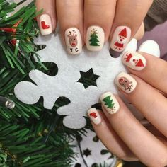 Xmas Nail Art, Cute Christmas Nails, Christmas Manicure, Christmas Nail Art Designs, Xmas Nails, Holiday Nails, Christmas Time, Christmas Girls, Cute Nails
