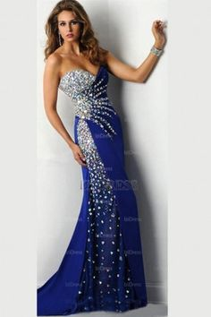 Abendkleider Long 2016 Hot Royal Blue Prom Dresses Rhinestones ...