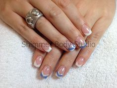 Gel nails, chevron french, french with a twist, french with blue purple silver by Shimmer Body Studio.
