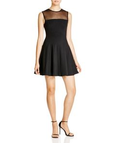 AQUA Mesh Illusion Yoke Dress | Bloomingdales's