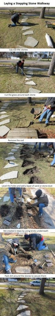 How to lay stepping stones for a walkway.