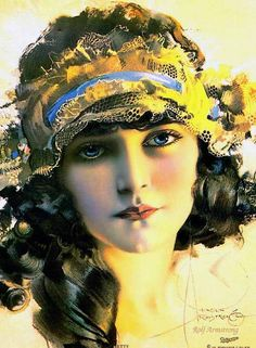 Art Nouveau Poster//Art Deco Print//Rolf Armstrong//Dream Girl in Lace 17x22//Repro