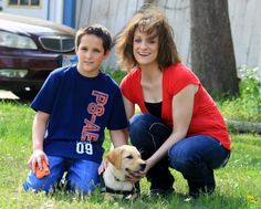 "Joseph met his future Diabetic Alert Dog ""Bolt."""