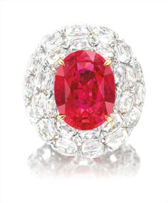 A Red Spinel and Diamond Ring. One oval red spinel carats. Brilliant-cut diamonds in the surround, totaling carats. Red Spinel, Beautiful Rings, Halo, Heart Ring, White Gold, Jewels, Diamonds, Auction, Jewellery
