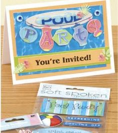 Pool Party Invitation Pool Party Invitations, Scrapbook Pages, Scrapbooking, Youre Invited, Card Making, Projects, Cards, Inspiration, Shopping