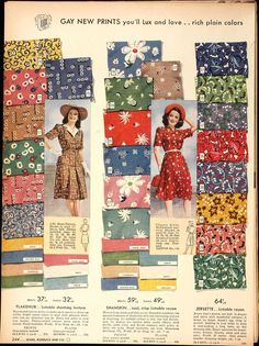 "Sears Catalog - ""gay new prints"" fabric"
