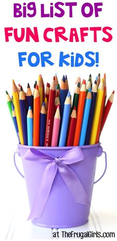 BIG List of Fun Crafts for Kids!  ~ from TheFrugalGirls.com ~ On the hunt for some Fun Crafts for Kids??  The kiddos will love these creative craft projects and ideas!! #thefrugalgirls