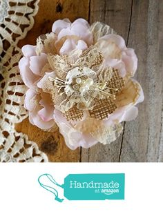 Bridal Hair Flower, Burlap Flower Hair Piece, Hair Pin ,Wedding Hair Flower,Fascinator,Hair Accessory Pale Pink from Burlap And Bling Design Studio https://www.amazon.com/dp/B01MQ2FV5F/ref=hnd_sw_r_pi_dp_xhTeyb4GC37XC #handmadeatamazon