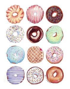 Dozen Donuts Watercolor Painting Print - Doughnuts Art Food Illustration Watercolor Art Print, 8x10 This is a print of my original watercolor