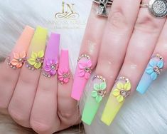3D coloridas relieve flores primavera  decoradas  piedreria 3d Acrylic Nails, Summer Acrylic Nails, 3d Nail Designs, Acrylic Nail Designs, Fire Nails, Pin On, Funky Nails, Coffin Nails Long, Luxury Nails