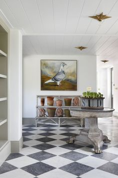 Black and White Marble Checker Floor Tile in the hallway with wide plank tongue and groove on the ceiling Bathroom Interior Design, Decor Interior Design, Interior Design Living Room, Home Design, Interior Decorating, Interior Staircase, Staircase Design, Checkered Floors, Hallway Designs