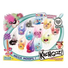 Kachooz Mega Moops Pencil Topper Set by MGA Entertainment. $29.99. Collect an entire family of furry friends with the Kachooz Mega Moops Pencil Topper set, a Toys'R'Us exclusive! This variety pack features 12 crazy critters from all different Moop groups; simply place them on top of your pencils and start swiveling to frizz their fur. Each creature can also be worn around your neck for even more fuzzy fun! The Kachooz Mega Moops Pencil Topper Set features: Include...